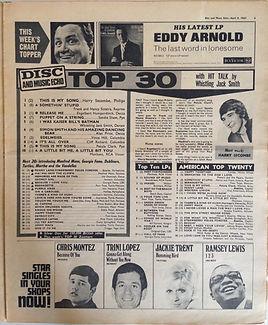 jimi hendrix newspaper collector 1967 / disc music echo april 8, 1967 / top 30 purple haze : N°17