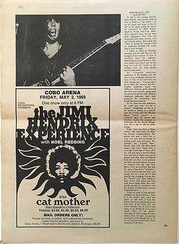 jimi hendrix newspaper 1969 / creem N°4 april 1969/ad concert cobo arena detroit may 2, 1969
