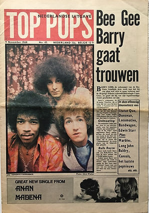 jimi hendrix newspaper/top pops 9 november 1968