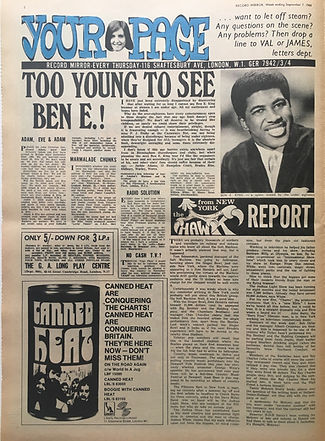 jimi hendrix newspaper/record mirror 7/9/68