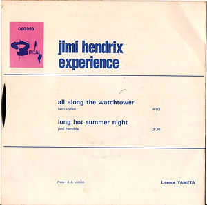 jimi hendrix rotily singles collector vinyls/all along the watchtower/long hot summer night barclay france 1968