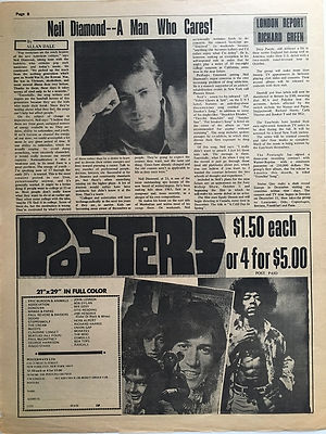 jimi hendrix newspaper/ go october 4 1968 poster ad