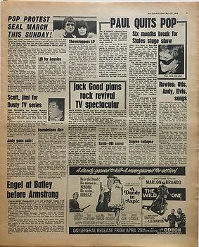 jimi for dusty tv series/jimi hendrix newspaper/disc music echo 27/4/1968
