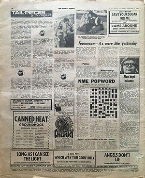 jimi hendrix newspaper 1970 / new musical express / september 12, 1970