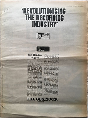 revolutionising the recording industry track record the hendrix religion/jimi hendrix newspaper 1968/melody maker 23/11/68