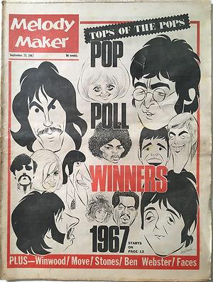 jimi hendrix collector newspapers/melody maker 23/9/67 pop poll winners 1967 jimi hendrix.......