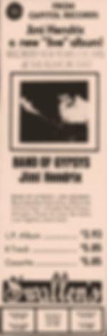 jimi hendrix memorabilia 1970 ad: band of gypsys april 18, 1970   cincinnati enquirer / ohio