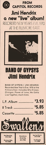 jimi hendrix memorabilia 1970 ad: band of gypsys april 18, 1970   cincinnati enquirer / ohio