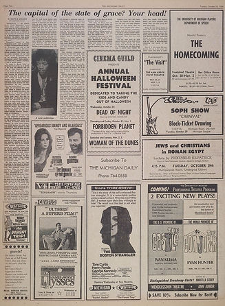 jimi hendrix newspapers 1968 / the michigan daily october 29,  1968 /