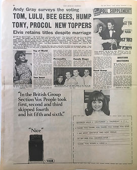 jimi hendrix newspaper collector/poll supplement 9/12/1967 new musical express