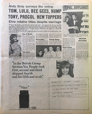 jimi hendrix newspaper collector/poll supplement 9/12/1967 new musical express