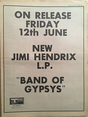 jimi hendrix newspapers 1970 / melody maker  june 13, 1970 ad band of gypsys