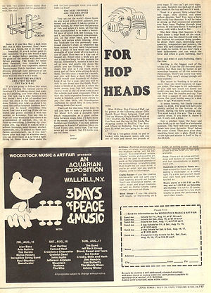 jimi hendrix newspaper 1969/good times july 24 1969/ ad ticket woodstock festival 69