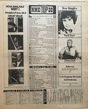 jimi hendrix newspaper 1968/new musical express 26/10/68 / top 30 : all along the watchtower N°18