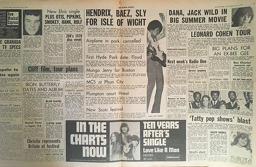 jimi hendrix newspapers 1970 / new musical express   july 4, 1970