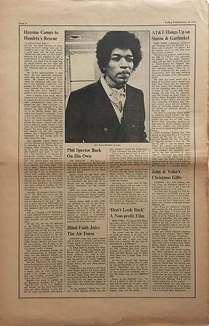 jimi hendrix newspaper 1970 / rolling stone jan. 30 1970