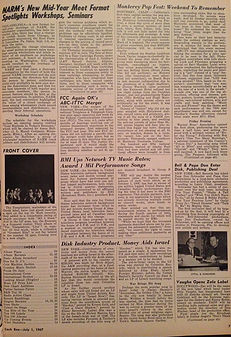 jimi hendrix rotily newspapers/cash box  1/7/1967