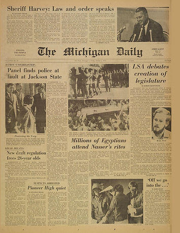 jimi hendrix newspapers 1968/ the michigan daily october 2, 1970