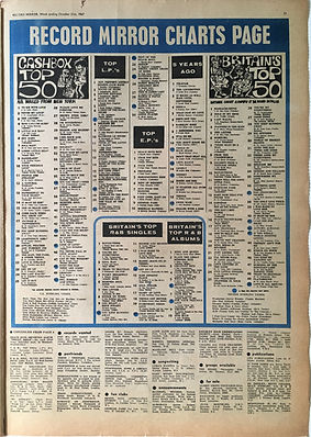 jimi hendrix collector newspaper/record mirror october 21 1967 top LP's are you experienced N°12