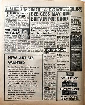 jimihendrix collector newspaper/disc music echo 14/10/1967 move tour change/jimi hendrix experience