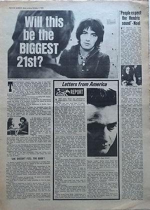 "jimi hendrix newspaper 1969/record mirror october 4, 1969 ""people expect the hendrix sound"" noel"