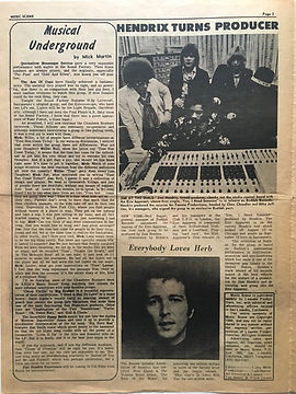jimi hendrix newspaper/music scene/kxoa august 26 1968