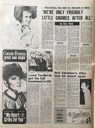 jimi hendrix collector newspapers/melody maker 9/9/1967/mitch mitchell talk about his impressions of america