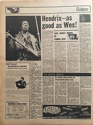 jimi hendrix newspaper 1970 /melody maker   feb. 14, 1970