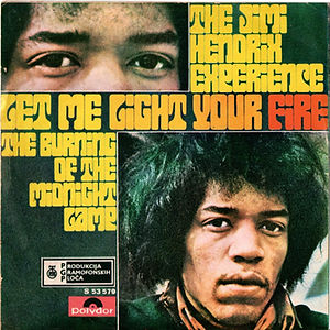 jimi hendrix collector vinyls singles 45r/ let me light your fire  1969 yougoslavia/the burning of the midnight lamp