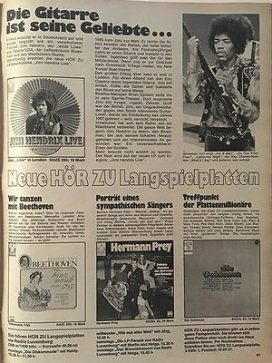 jimi hendrix magazines 1970 / hörzu sept. 7, 1970