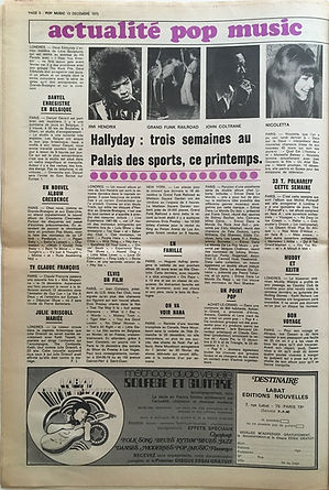 jimi hendrix newspapers 1970 / pop music december 10,  1970  / review : bootleg experience 67-68
