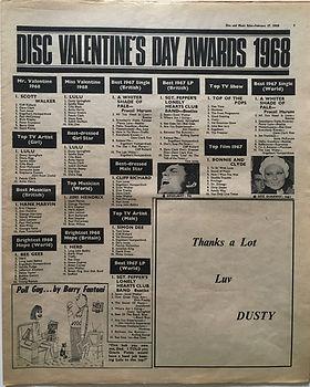 disc valentine's day awards 1968/jimi hendrix newspaper collector