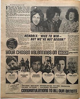 disc music echo newspaper collector jimi hendrix 17/2/1968
