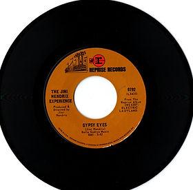 jimi hendrix collector singles vinyls 45t/gypsy eyes reprise records 0792/1968 usa