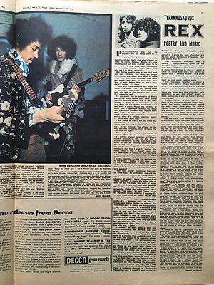 jimi hendrix newspaper 1968 / record mirror 1968 november 9