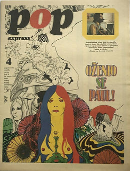 jimi hendrix newspaper 1969/pop express march 24 1969 yougoslavia