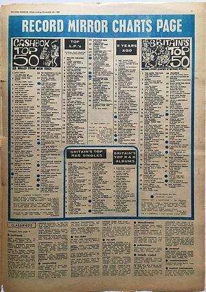 jimi hendrixnewspape november 30 1968/record mirror november 30 1968 /top 50 & top LPs