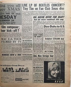 jimi hendrix newspaper 1968/new musical express december 21 1968