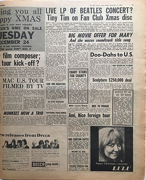 jimi hendrix newspaper 1968/new musical express december 21 1968