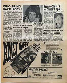 jimi hendrix newspaper/disc music echo 2/3/68