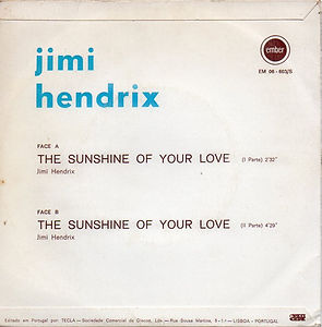 jimi hendrix vinyls singles/the sunshine of your love