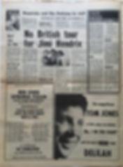 jimi hedrix newspaper/melody maker 30/3/68 no british tour for jimi hendrix
