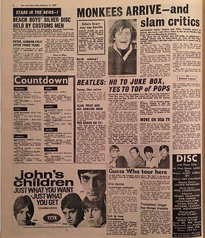 jimi hendrix newspaper/disc music echo 11/2/67