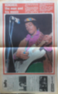 jimi hendrix newspaper 1969/disc & music echo march 15 1969 poster