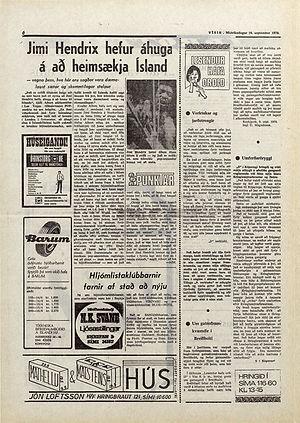 jimi hendrix collector newspapers 1970 /  visir sept. 16, 1970