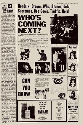jimi hendrix newspapr 1968/ go-set june 26,1968