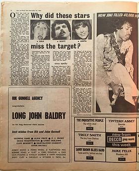 jimi hendrix collector newspaper/disc music echo 25/11/1967 hysterical hendrix