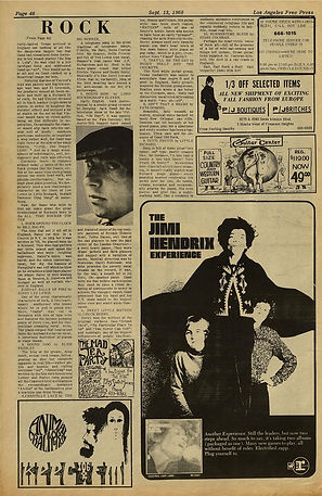 jimi hendrix newspaper 1968/los angeles free press 13/9/68 :electric ladyland AD