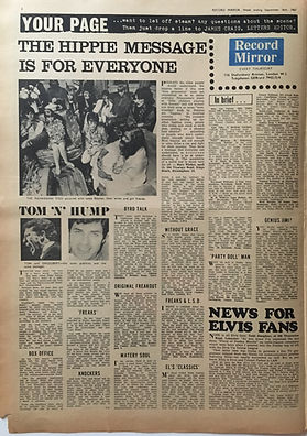 jimi hendrix collector newspapers/record mirror 16/9/67 genius jimi