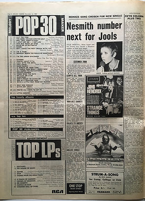 jimi hendrix newspaper 1968 / top 30 melody maker  december 14 1968